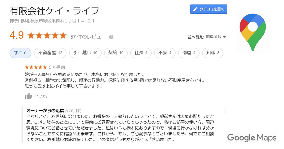 GoolgeMapの口コミ|橋本駅の賃貸執事|橋本の不動産屋さんケイ・ライフ