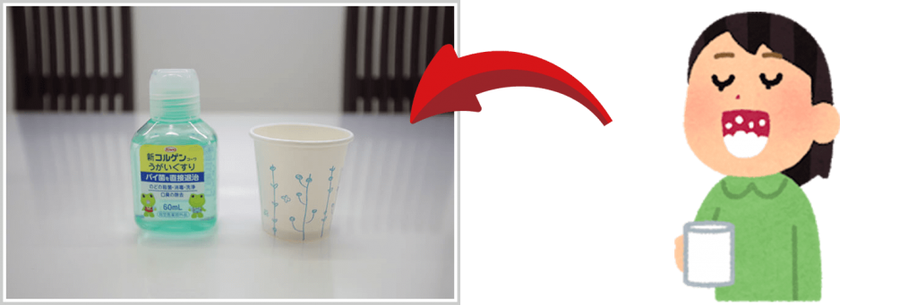 うがい薬と紙コップ|新型コロナウイルス感染予防対策